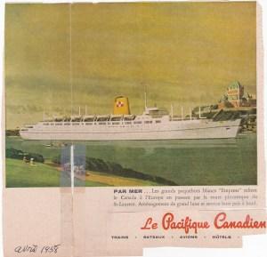 """Publicité du """"Pacifique Canadien"""" , dans la """"Revue Populaire"""", 1958."""