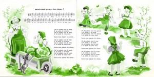 """""""Savez-vous planter des choux"""", tirée de Rondes et chansons de France, No. 8, enregistrée en 1958 par Lucienne Vernay et les Quatre Barbus."""