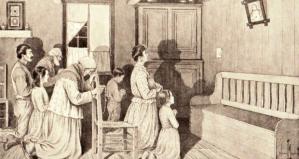La prière en famille (Edmond-J. Massicotte, Les Canadiens d'autrefois, 1924).