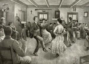 Une veillée d'autrefois, illustration d'Edmond-J. Massicotte (Bibliothèque et Archives nationales du Canada).