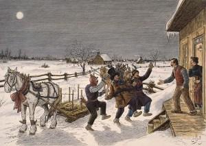 Le Mardi-gras à la campagne, illustration de Edmond-J. Massicotte. Bibliothèque et Archives Canada/MIKAN 2895476.