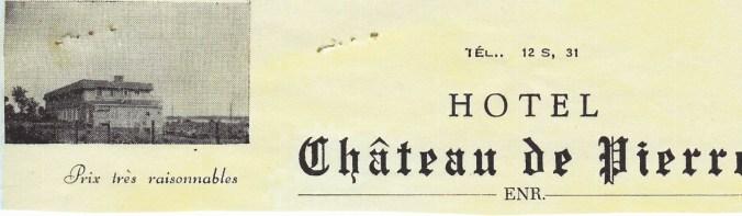 En-tête de papier à lettre de l'hôtel Le Château de pierre.