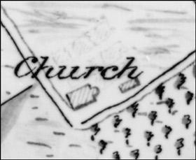Em placement de la première église et du premier presbytère (source: Musée virtuel du 300e de Deschambault, Culture et patrimoine Deschambault-Grondines).
