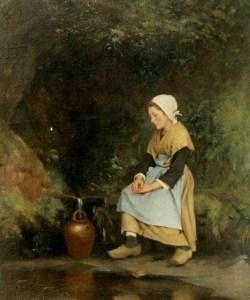 """""""Femme à la fontaine"""" de J.M. Villard (1828-1899)."""