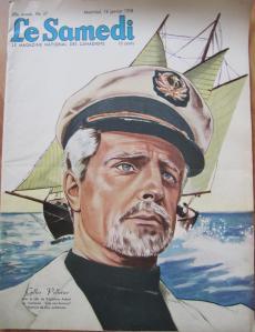 Gilles Pelletier, de l'émission Cap aux sorciers, sur la couverture de la revue Le samedi en 1958.