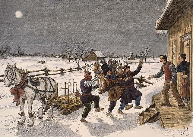 Le Mardi gras à la campagne, illustration d'Edmond J. Massicotte (source: Bibliothèque et Archives Canada).