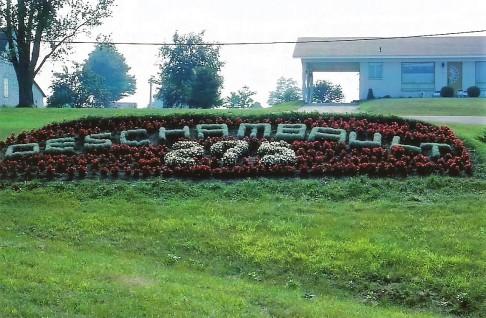 Massif de fleurs pour le 275e anniversaire de la paroisse en 1988.